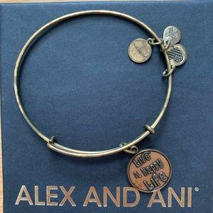 Alex and Ani Copper/Gold Live AHappy Life Bracelet